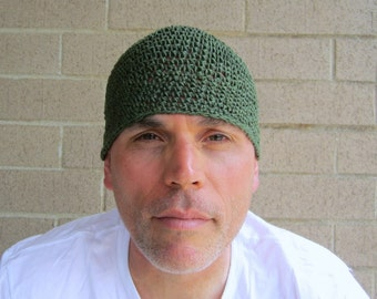 men's hemp kufi/ avocado green crochet