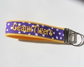 RESERVED LISTING for Nikki - Key Fob LSU Team Embroidery in Purple and White Dots with Gold Webbing