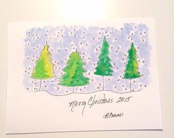 Christmas/Holiday Trees n Snow 5x7 Acrylic Painting PaintATreeADay Art by BeckyPaint on Watercolor Paper