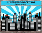 Superhero Backdrop, Superhero Birthday, Superhero Skyline, INSTANT DOWNLOAD, Superhero Birthday Decorations, City Skyline Backdrop,Superhero