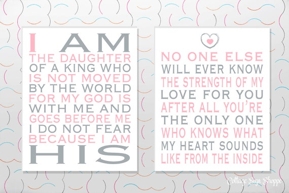 Girls Nursery Decor, Girls Nursery Ideas, I Am His, Strength Of My Love, INSTANT DOWNLOAD,Girl Baby Shower Gifts, Gifts For Newborn Girls,