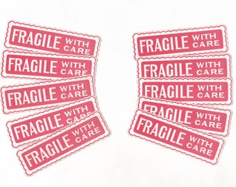 Vintage FRAGILE Labels with Scalloped Edges & Embossed Lettering | Handle With Care Labels | Postage Mailing  Labels | Post Labels x 10