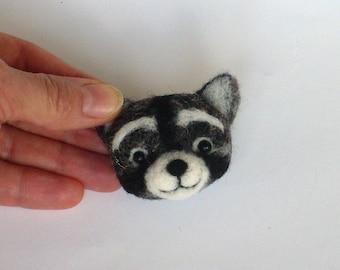 Raccoon brooch, needle felted miniature, children jewelry, black, whitel, handmade