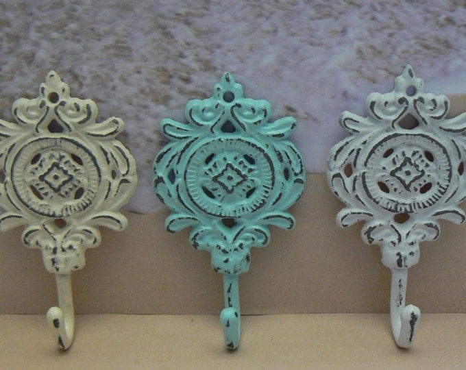 Medallion Cast Iron Hooks Shabby Chic Set of 3 Cottage Beach Nautical Home Decor