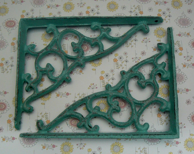 Shelf Bracket Cast Iron Vine Brace Turquoise Shabby Chic 1 Pair DIY Home Improvement