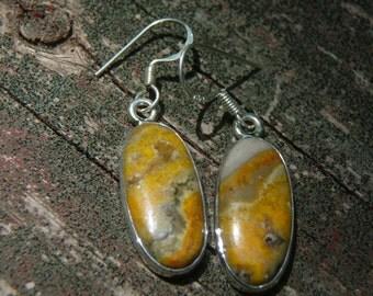 Bumble Bee Jasper Oval Earrings w/Sterling Silver - SALE