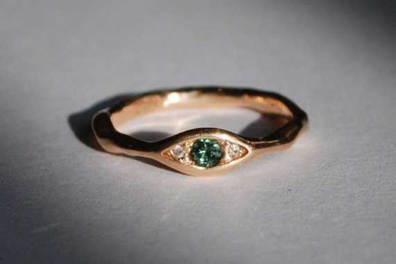 18k Peach Gold, Blue Green Diamond & White Diamond Eye Ring
