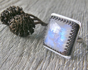 RESERVED for Kristi - Moonstone Cocktail Ring, Sterling Silver Large Stone Ring, Blue Flash Statement Adjustable Stone Ring