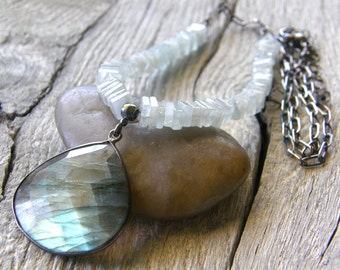 Aquamarine and Labradorite Pendant Necklace