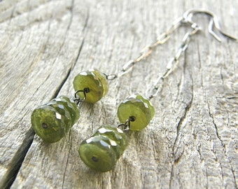 RESERVED FOR SHAY - Green Vessuvianite Long Drop Sterling Silver Earrings