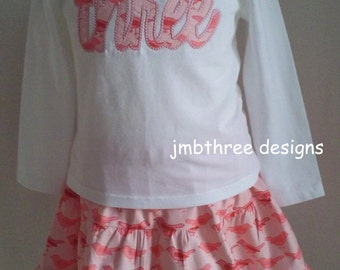 SALE Girls Embroidered Tee shirt Three Birdy Skirt set size 3t  Ready To Ship