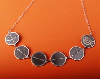 Sterling Etched Archery love necklace