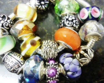 SALE 20 European Beads Mixed Lot Glass, Crystals,Dangle Charms,Euro Beads,Big Hole Beads