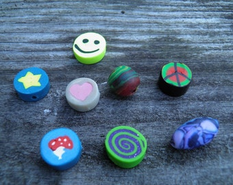 Eight Assorted Polymer Clay Beads (Handmade) (One of a Kind)