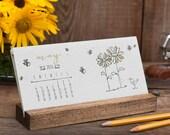 2016 Letterpress Desk Calendar with Stand - Wildflower Seeded Handmade Paper - Desktop Plantable