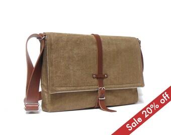 """11"""" / 13"""" MacBook Air messenger bag - camel brown"""