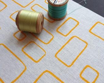 windows - screenprinted fabric panel, yellow on linen or cotton