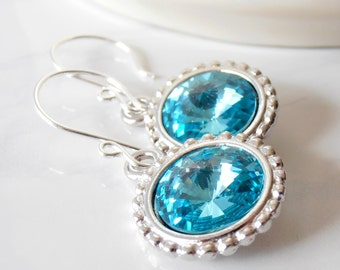 Wedding Jewelry Earrings, Aquamarine Weddings, Crystal Bridesmaid Earrings, Swarovski Crystallized Elements, Sterling Silver Hooks