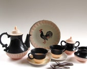 Vintage Child's Tea Set, Metal and Plastic, Roosters, Black and Pink, Banner, USA Made, Tea Party, Mid Century, Pretend Play, 60 Years Old