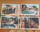 Mission San Juan California Postcards Set of 4 Vintage Souvenir Photos Travel USA Gardens