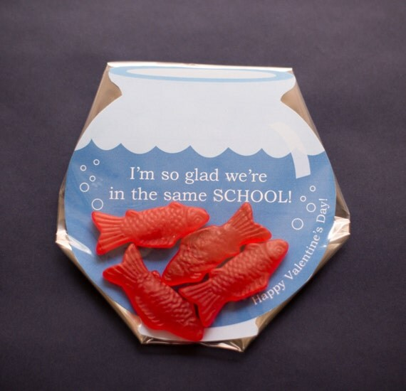 Instant Download Valentines Classmate Candy Gift Fish Bowl