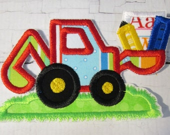Back To School Digger - Iron On or Sew On Embroidered Custom Made Applique - Ships in 5-7 Business Days