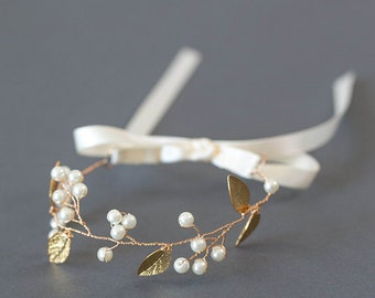 Gold Leaf Bridal Bracelet | Boho Pearl Wedding Cuff | Delicate Ribbon Jewelry [Adelia Bracelet]