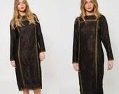 Vintage 70s GEOFFREY BEENE Dress Black METALLIC Embellished Semi Sheer Boho Caftan O/S
