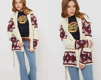 Vintage 70s WRAP Sweater Cream TRIBAL Print Hippie Sweater BELTED Cardigan Striped Jumper