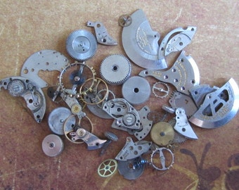 Vintage WATCH PARTS gears - Steampunk parts - c82 Listing is for all the watch parts seen in photos