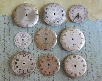 Watch Faces - Featured - Vintage Antique Watch faces -  Assortment Faces - Steampunk - Scrapbooking x8