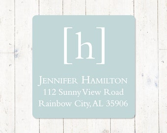 personalized return address LABEL - SIMPLY CLASSIC monogram - sticker - square label - set of 48 labels