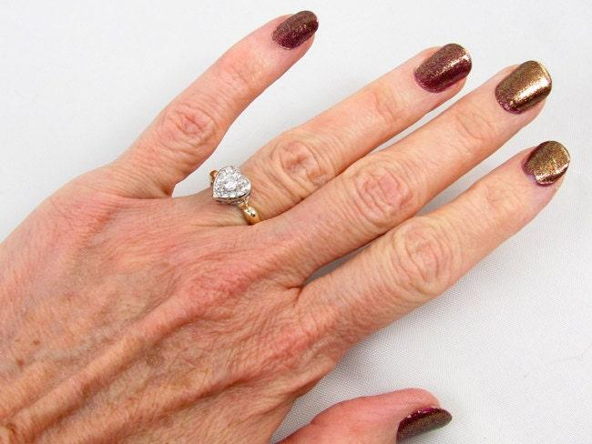 Antique Edwardian 14k gold .44 carat diamond cluster heart shaped engagement wedding bridal halo ring, size 5-1/2