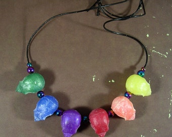 Parakeet Pride Rainbow Bird Skull Necklace colored resin OOAK