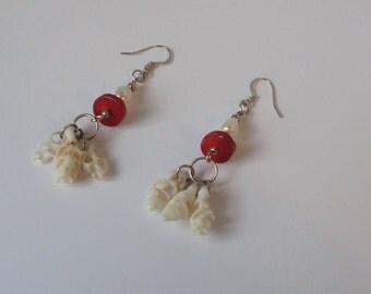 Skeleton Seashell with Freshwater Pearls and Red Coral Earrings. Hook Earrings.