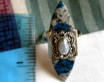 RING - AZURITE - PEARL - Elongated  - 925 - Sterling Silver  - size 8 blue192