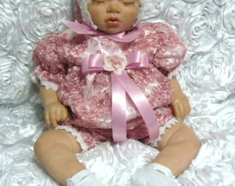 REBORN BABY DRESS Dusty Rose Ribbon Embroidered Romper  size 0-3 months