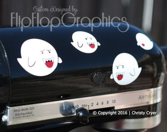 BOO Ghost Mario Bros Inspired Vinyl Graphic for your Kitchen Mixer