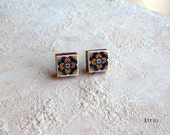 Portugal Antique AZULEJO Tile Replica POST STUD Earrings from Ovar and EsPINHO  (see actual Facade photos) 500