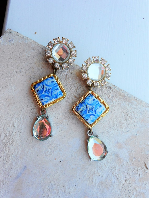 Portugal Antique Azulejo Tile Post Stud Rhinestone Majolica Earrings COIMBRA, 1593 -(see photos) Colégio de Santo Agostinho Relic BAROQUE