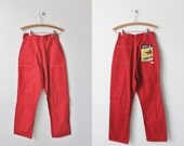 Vintage 1950's Red Jean Pants / 40s 50s Bright Red Rockabilly Pin Up Denim Pants / Blue Gem