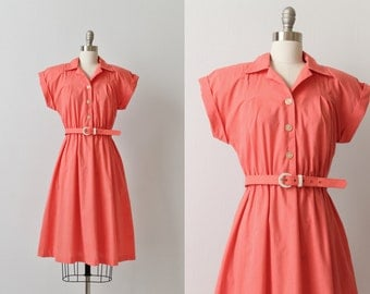 Vintage 1980s Short Sleeve Casual Day Dress / Coral Dress / Elastic Wasit Belted / Side Seam Pockets