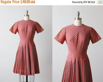 On SALE Vintage 1960s Scooter Dress / 60s Mod Dress / Rounded Neckline Pleated Bottom Short Sleeves / Coral and Gray Check Print / Toni Todd