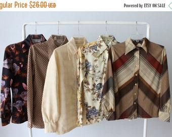 On SALE Vintage Wholesale Bulk Blouse Lot / 1960s 1970s Blouses Tops / FREE Domestic Shipping / 5 Piece Wholesale Women's Shirt Blouse Lots