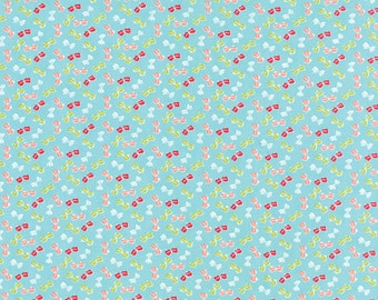 SUMMER SALE - 1 yards - Little Ruby -  Bows in Aqua (55135-12) - Bonnie and Camille for Moda Fabrics