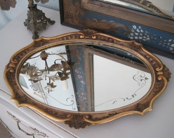 Antique Mirrored Vanity Tray Etched Glass on Gesso French