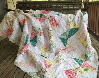 Chevron Rag Quilt, YOU CHOOSE SIZE and fabrics, granny chic bedding crib-king sizes available