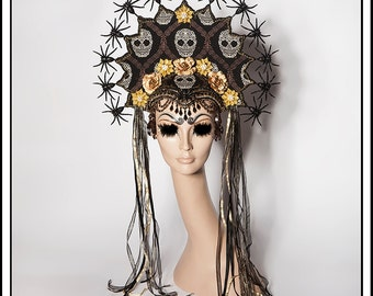 Glorious Spiders… Headdress with Sugar Skulls and Spiders, Flowers, Beads, Coins, Rhinestones and Amulets