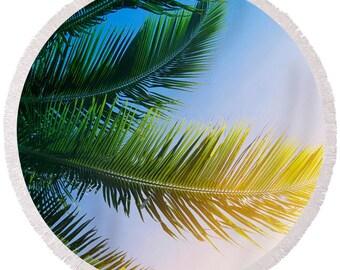 Round beach towel, palm tree towel, round island style towel, palm tree print, poolside towel, tropical round towel, round picnic towel