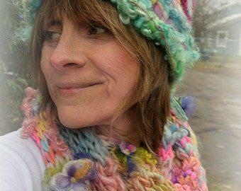 rustic puffy soft handknit rainbow pixie hat -  enchanted forest  patchwork thinking cap - little epiphanies